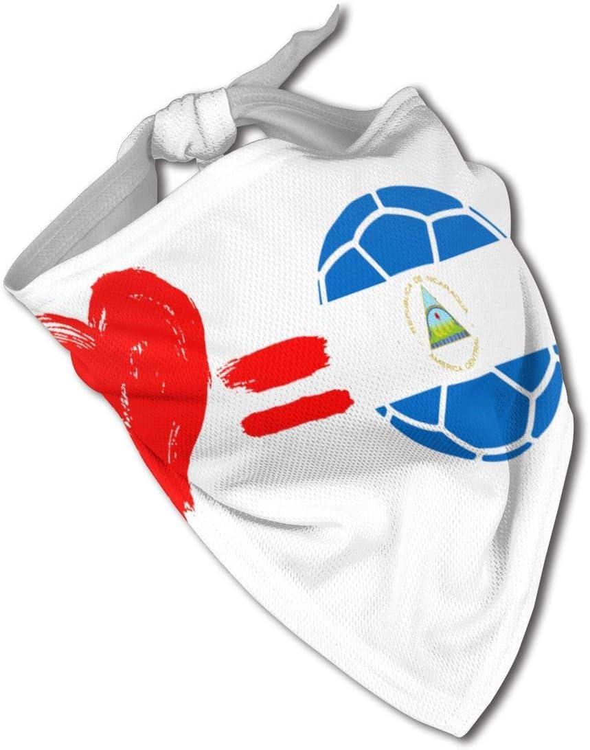 leyhjai Love Soccer Nicaragua Flag Perro Bandana Collares Triángulo Pañuelo Baberos Bufandas Accesorios Mascotas Gatos y Cachorros Bebé Toalla Saliva