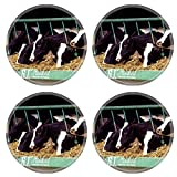 Luxlady Round Coasters Cows Cattle Dairy Holstein Farm Natural Rubber Material Image 526771