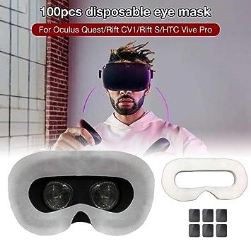 atmungsaktives Schwei/ßabsorptionsmittel aus Reiner Baumwolle Hook.s 100Pcs Einweg-VR-Augenmaske VR-Gesichtsmaske f/ür Oculus Quest//Rift CV1 Rift S//HTC Vive Pro