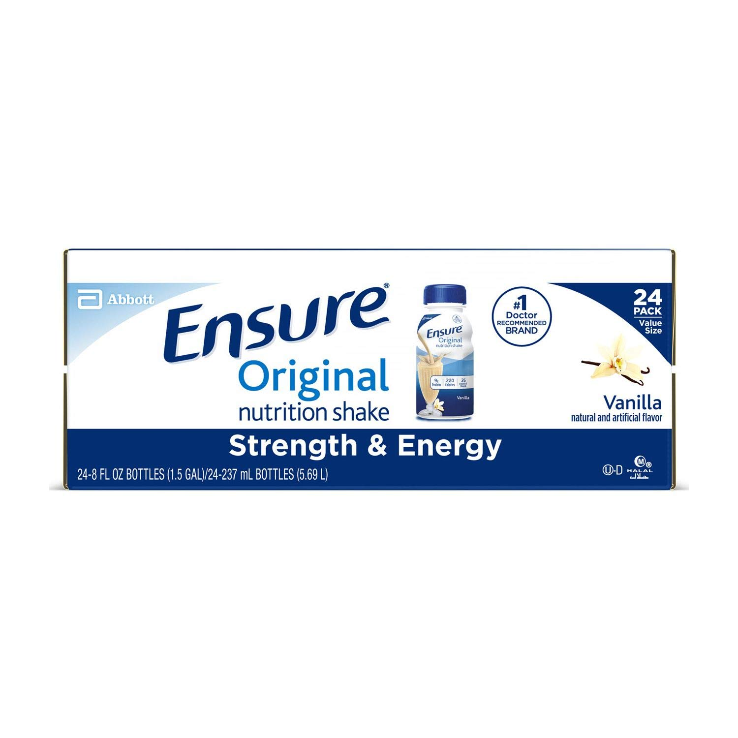 Ensure Original Nutrition Vanilla Meal Replacement Shakes with 9g of Protein 8 fl. oz, 24 ct. (pack of 3) A1