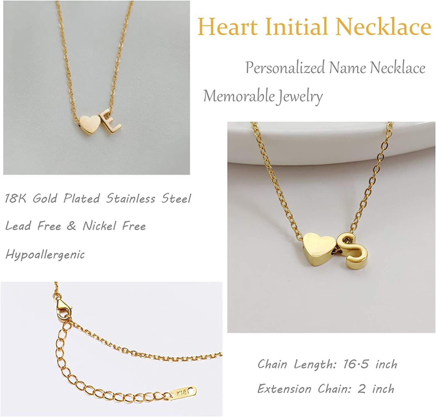 Glimmerst Initial Heart Necklace,18K Gold Plated Stainless Steel Tiny Heart Letter Necklace Personalized Monogram Name Necklace for Women Girls