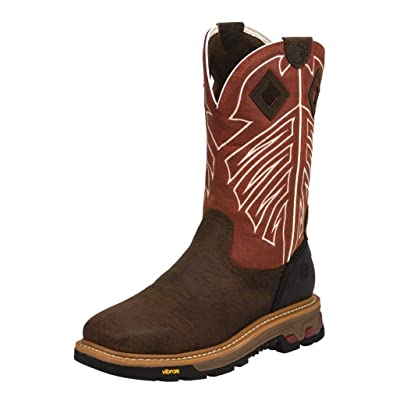 Justin Boots Company Mens Commander X5 Steel Toe Work Boot 8.5 D Red/Brown | Industrial & Construction Boots