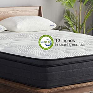 Sweetnight Queen Mattress in a Box - 12 Inch Plush Pillow Top Hybrid Mattress