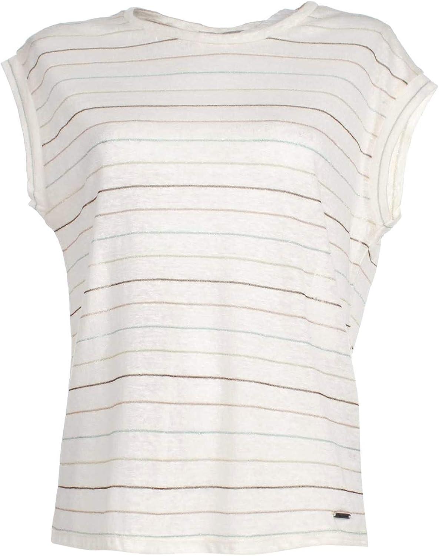 Pepe Jeans - Camiseta para mujer de lino y algodón a rayas