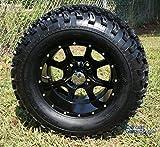 12'' STALKER Black Aluminum Wheel and 23'' All Terrain Golf Cart Tires Combo - Set of 4
