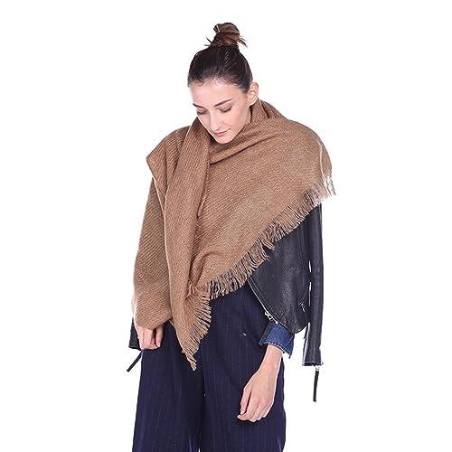Otoño e invierno elegante dama color sólido bufanda con flecos multifuncional cálido aire acondicionado mantón de la moda , 7