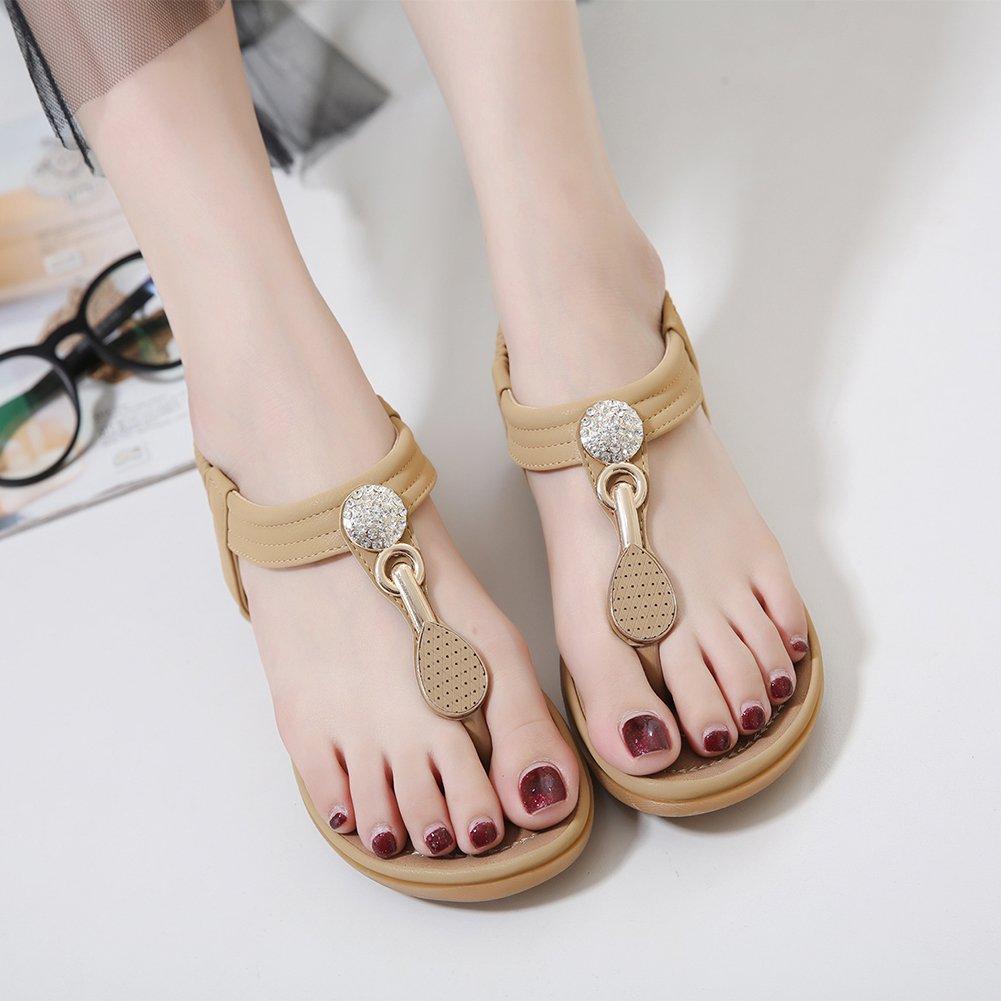SANMIO Women Summer Flat Sandals Shoes,Bohemian T Strap Prime Thong Shoes Flip Flop Shoes by SANMIO (Image #2)