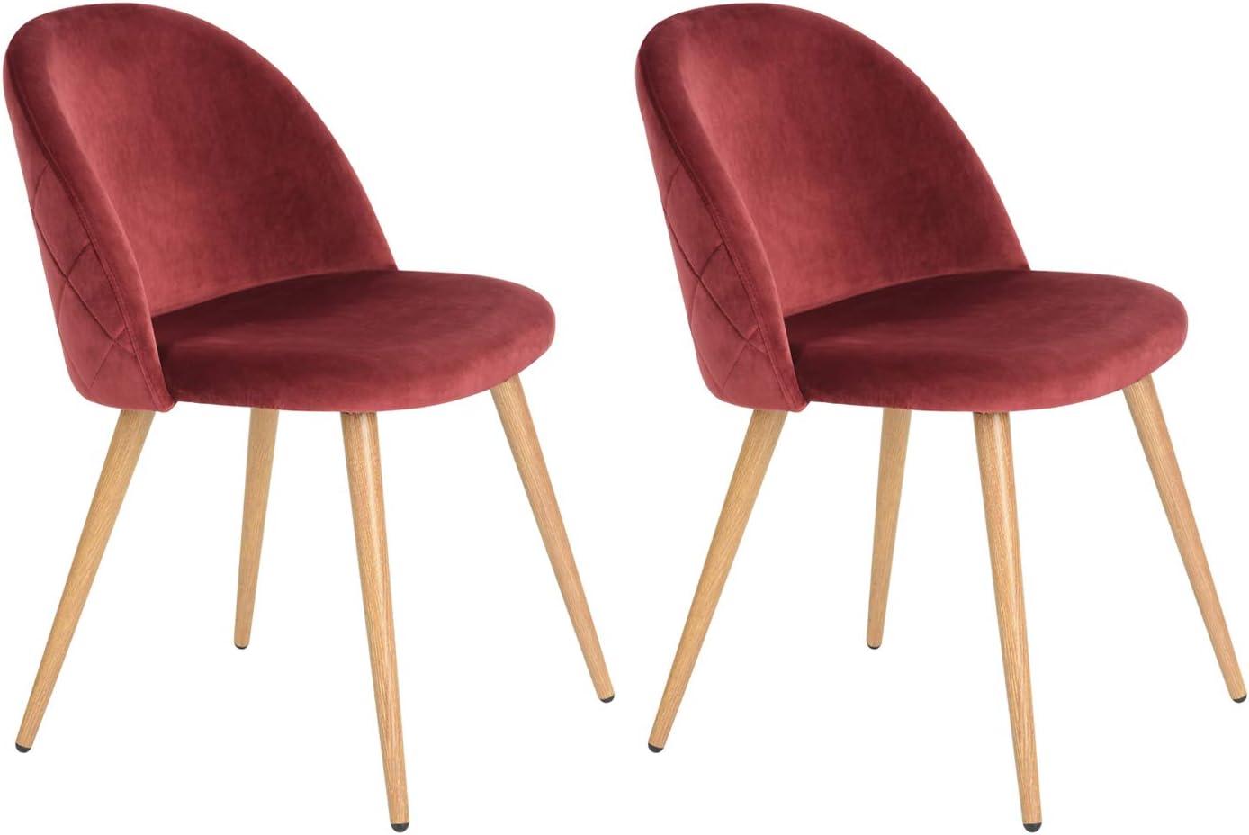 MEUBLE COSY Lot de 2 Fauteuil Chaise de Salle /à Manger Rouge Chaise de Bureau Ergonomique Pieds M/étal avec Finition en Bois red //49x53x77,5cm