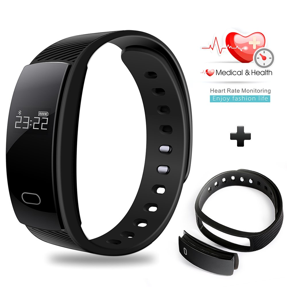 Braccialetto intelligente, Besteker fitness tracker sonno Heart Rate monitor Bluetooth impermeabile sport contapassi Wristband con touch screen per Android e iOS nero
