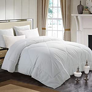 INGALIK All-Season Bed Comforter Best Soft Down Alternative Quilted Comforter - Winter Warm - Machine Washable (White, King 90 x 102 inches)