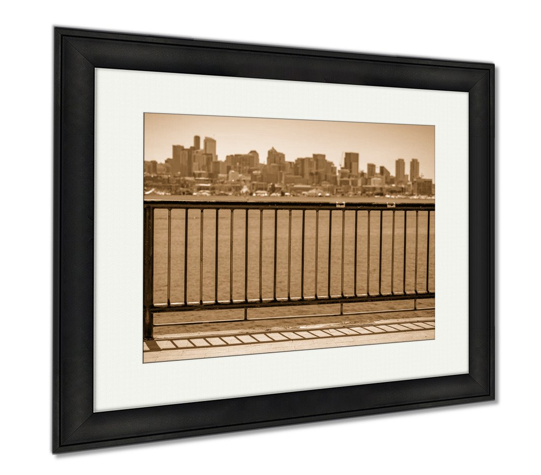 Ashley Framed Prints Sun Over Downtown Seattle With Elliott Bay And A Guard Rail In T, Office/Home/Kitchen Decor, Sepia, 30x35 (frame size), Black Frame, AG6537709