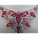 CoolPart Red/Silver Handmade Crystal Patches Sew On Rhinestones Applique With Stones Sequins Beads 32*13Cm For Top Dress Perfect Patches