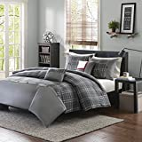 MP 5 Piece Grey Plaid Full Queen Size Duvet Cover Set, Vibrant Gray Lumberjack Cabin Country Themed Lodge Checkered Bedding, Woods Tartan Madras Checked Squared Stripes, Polyester