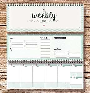 "'""My Weekly Agenda verde mesa Calendario/agenda semanal"