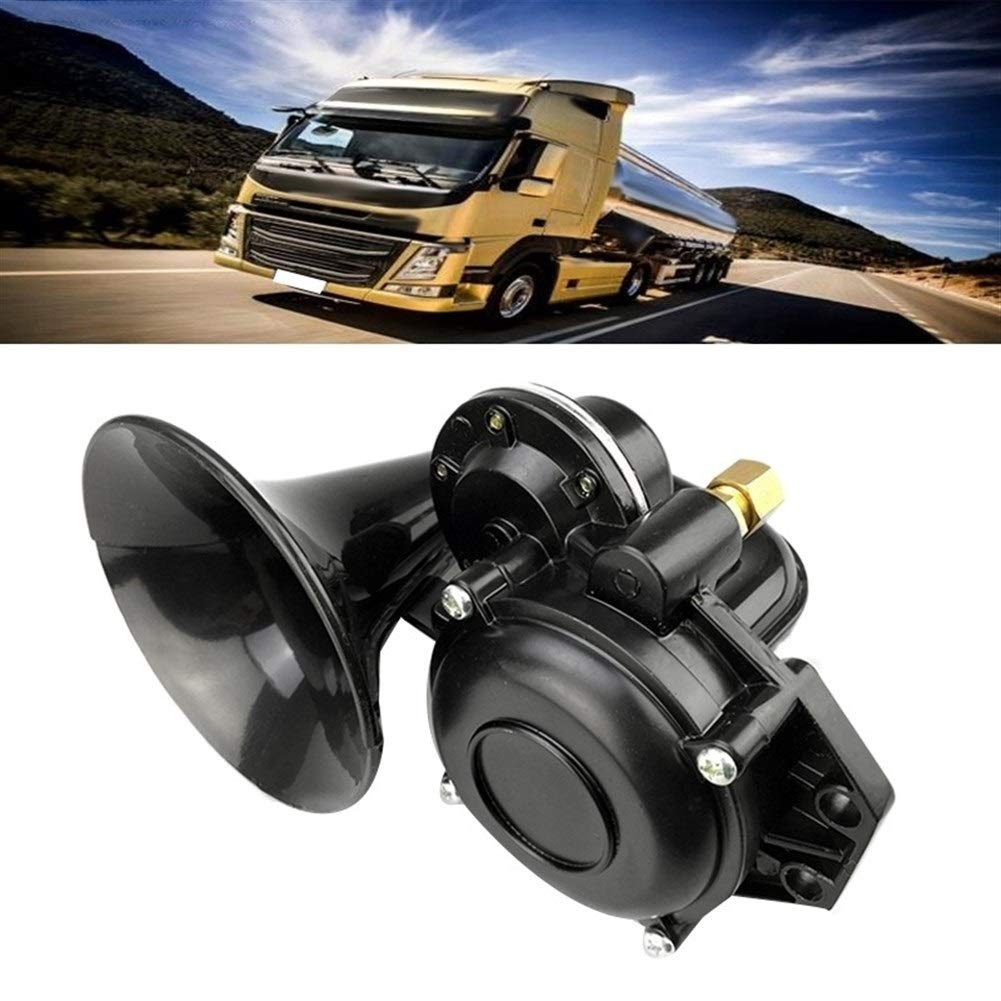Truck 135db Air Horn 12/24V Super Loud Trumpet Air Horn With Electric Valve Flat For Auto Car Vehicle Trucks (Color : Black-1) by XIAOLAOBIAO