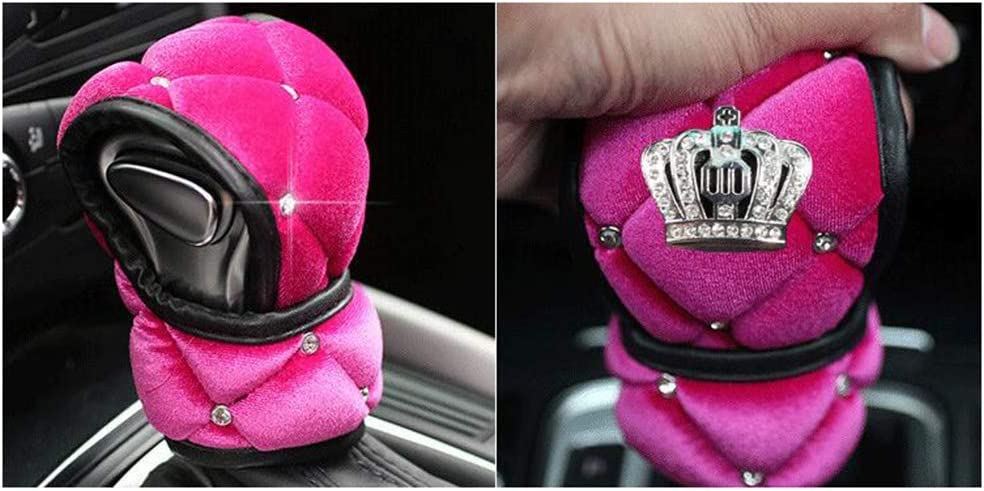 Siyibb Soft Plush Car Gear Shift Cover Crystal Crown Car Styling Pink