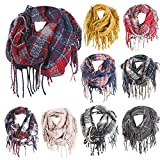 Plaid Scarfs Hot Sale, deatu Clearance Man Woman Teen Girl Winter Warm Tassel Long Plaid Soft Shawl Infinity Scarf