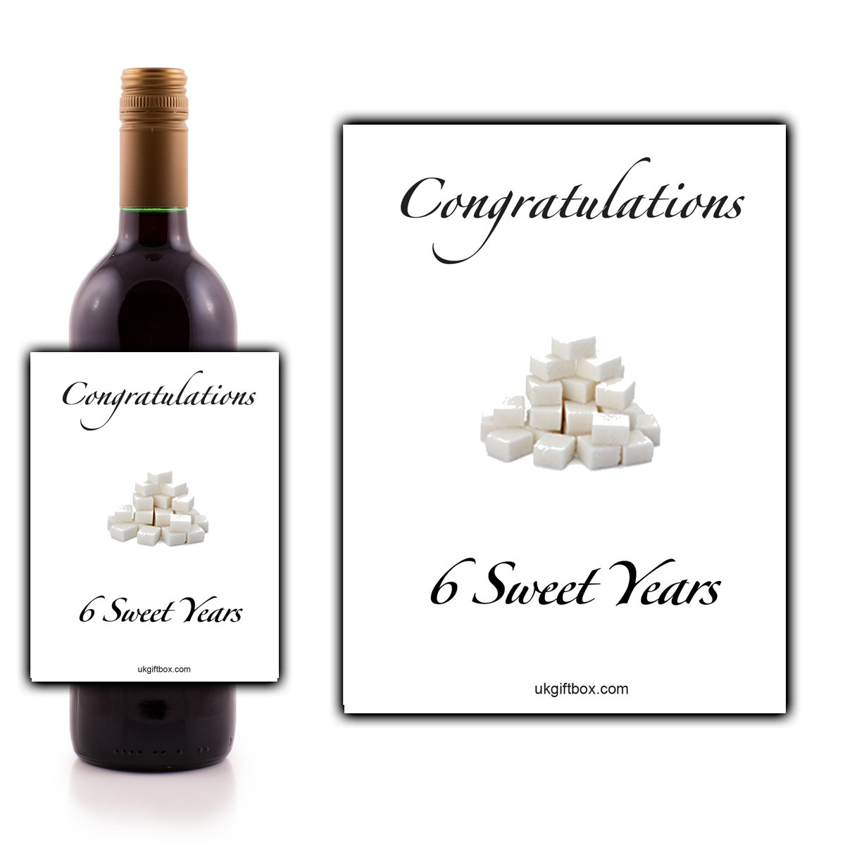 Congratulations 6 sweet years Wine Bottle Label - perfect for adding that special touch to a 6th anniversary present ukgiftbox