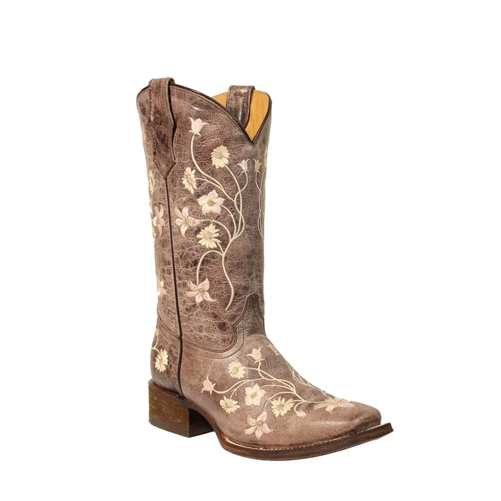 Corral New Girl's E1198 Western Boot Brown/Pink 6