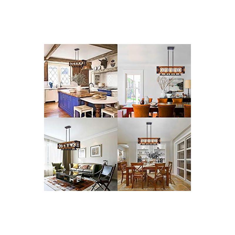 CCS Wood, Metal Rectangle Chandelier Farmhouse Kitchen Island Fixture 5 Lights Edison E26, Black