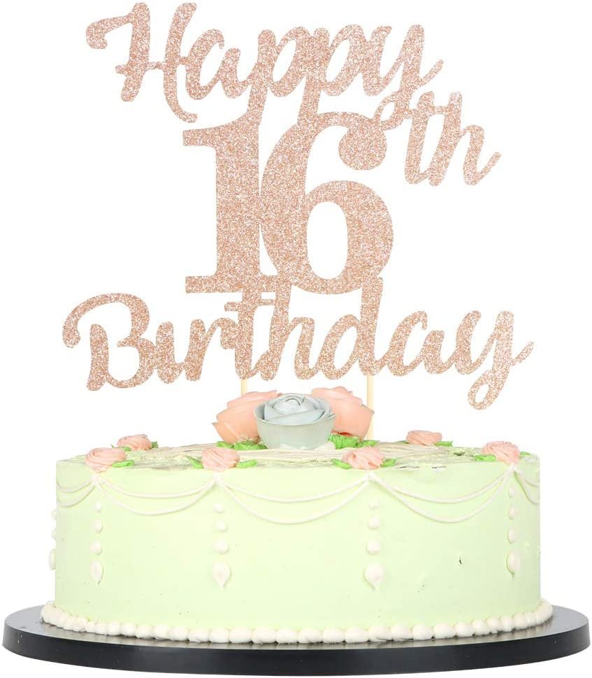 Strange Amazon Com Lveud 16Th Birthday Cake Topper For Happy Birthday 16 Personalised Birthday Cards Veneteletsinfo