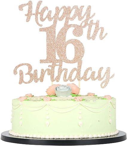 Phenomenal Amazon Com Lveud 16Th Birthday Cake Topper For Happy Birthday 16 Funny Birthday Cards Online Alyptdamsfinfo