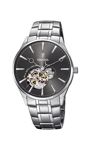 Festina F6847/2 - Reloj de Pulsera para Hombre, Mecanismo automático, Pantalla analógica, con dial Gris y Correa Plateada de Acero Inoxidable: Amazon.es: ...