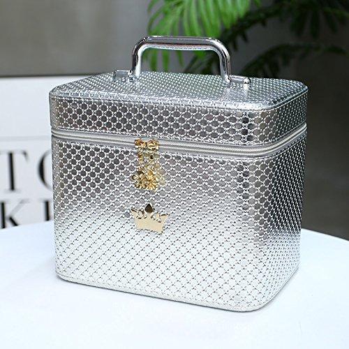 LULANKosmetiktasche, Kosmetik, Make-up des Pakets kleine tragbare minimalistischen, 21 * 15 * 16 cm, silber