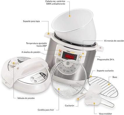 NEWCOOK Olla Programable Newcook Delicious Blanca, Olla a Presión Multifunción Eléctrica con Voz, 15 Funciones, 1000W,6 l, 4 Niv. Presión,Cubeta con recubrimiento cerámico. Accesorio para Freír: Amazon.es: Hogar