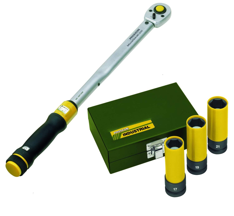 Proxxon  Drehmomentschlü ssel MicroClick MC 320, 60 - 320 Nm, 1/2'  +  Impact Radmuttern-Satz, 1/2', 3-tlg. (17, 19, 21 mm) 1/2  +  Impact Radmuttern-Satz markenbaumarkt24