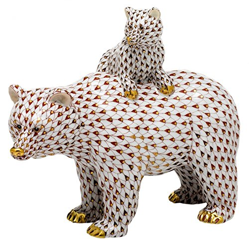 (Herend Grizzly Bear and Baby Porcelain Figurine Reserve)