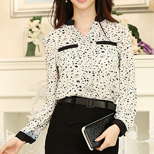 Your Gallery Women's Long Sleeve Regular Cute Star Pattern Casual Tee Top Blouse XL