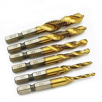 Tapping Drill Bit Set Drill Tap Bit M10 HSS 1//4 Hex Shank Drill /& Tap Taper Drill Bits Power Tool Part Akozon Drill and Tap Bit