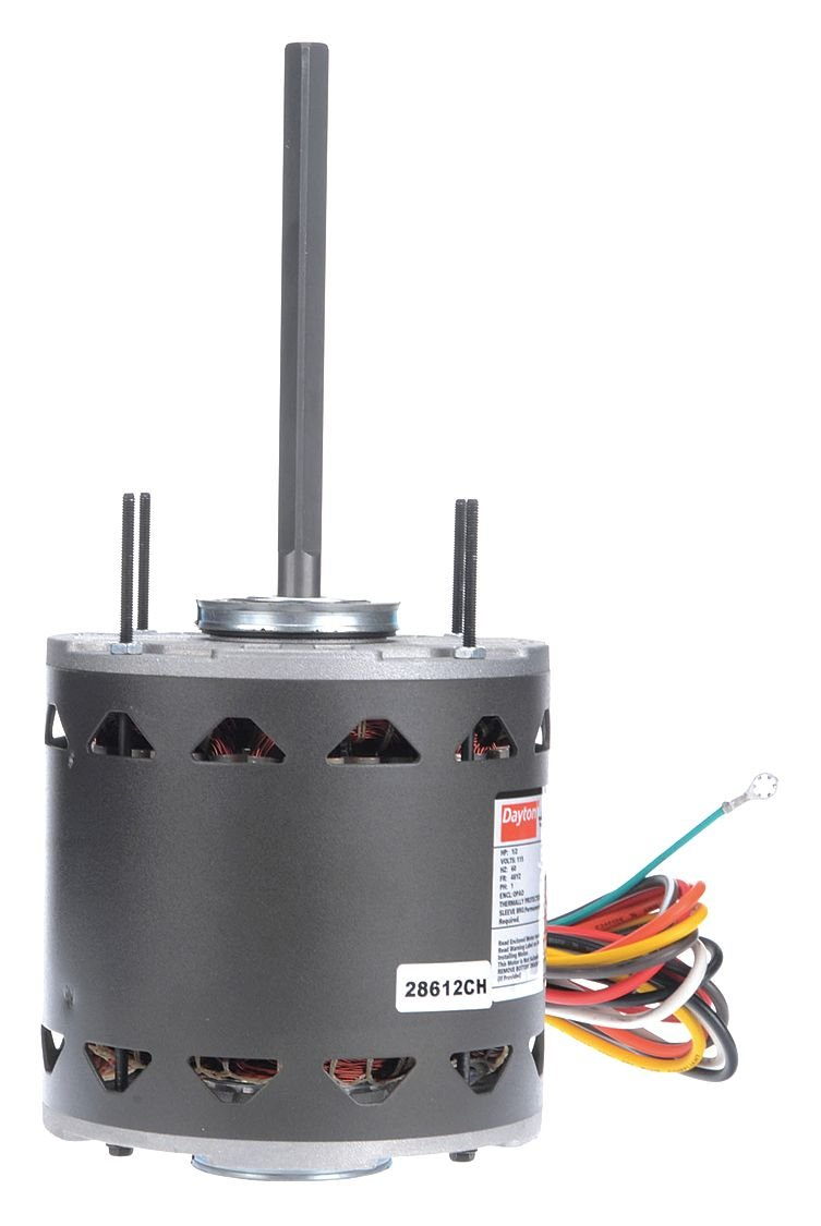 Dayton 3LU83 Direct Drive Blower Motor, Permanent Split Capacitor, 1075 Nameplate RPM, 115 Voltage,  1/2 hp