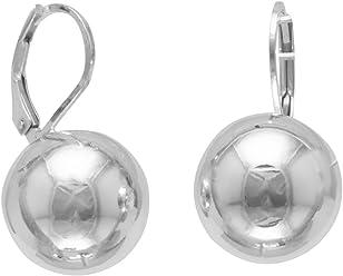 Sterling Silver Leverback Earrings, 14mm Bead/Ball, Italian