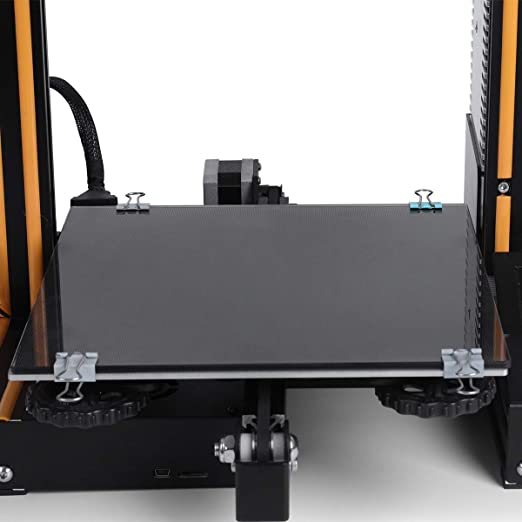 ELEGOO 3D Printer Hotbed Platform, Tempered Glass Plate Surface Heated Bed for Creality Ender 3/Ender 3 Pro Black 235mmx235mmx3mm