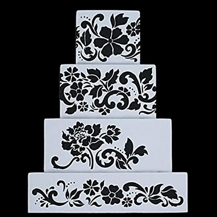 amazon com fondant cake decorating stencil royal icing template for