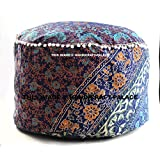 """Indian Handmade Cotton Pouf Cover Floral Mandala Indian Pouf Ottoman Cover Round Poof Pouffe Foot Stool Floor Pillow Decor Home Decor Room Decor Sold By """"Handicraft-Palace"""""""