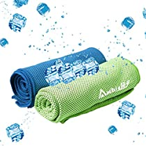 Ambielly Cooling Towel for InstantRelief,2-Pack(40x12) Stay Cool Fitness Golf Ice Towels,Ideal for Running Yoga Gym Travel Camping Biking Hiking Working & Outdoor Sports