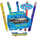 Toysmith Mini Spiral Glitter Wands (6.5 Inches) Complete Gift Set Party Bundle - 6 Pack (Assorted)