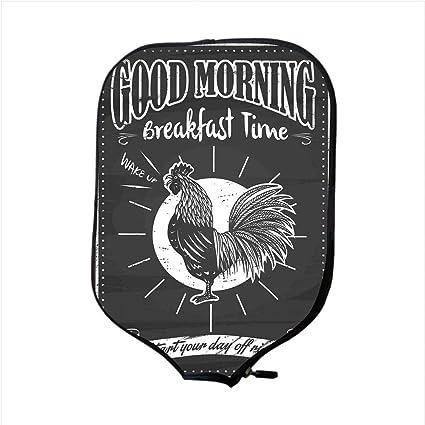 Neoprene Pickleball Paddle Racket Cover Case,Kitchen Decor,Chalkboard Kitchenware Menu Art Morning Rooster