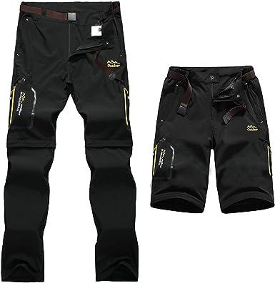 7VSTOHS Pantalones de Senderismo de Secado rápido para Hombre con Cremallera Transpirable Ligero Casual al Aire Libre Pantalones de Trekking para ...