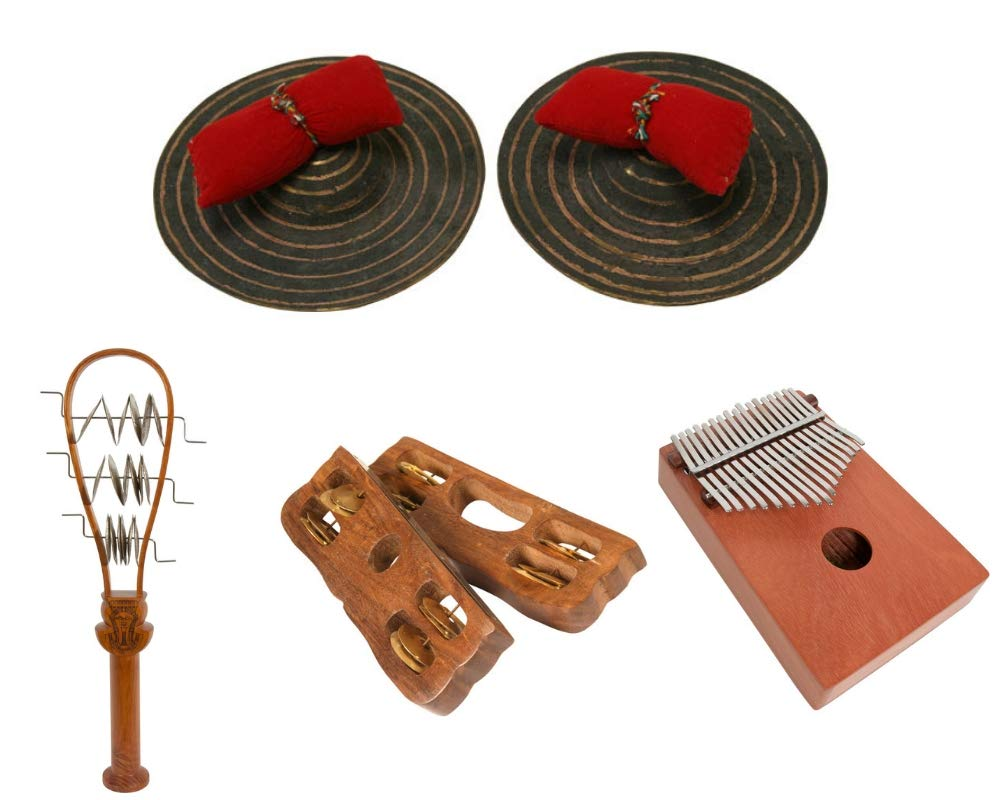 Package Includes: 6'' Dobani Hand Cymbals + Ceremonial Systrum Shaker, Red Cedar + Hand Tambourine, Pair + 17 Key Kalimba Thumb Piano, Red Cedar