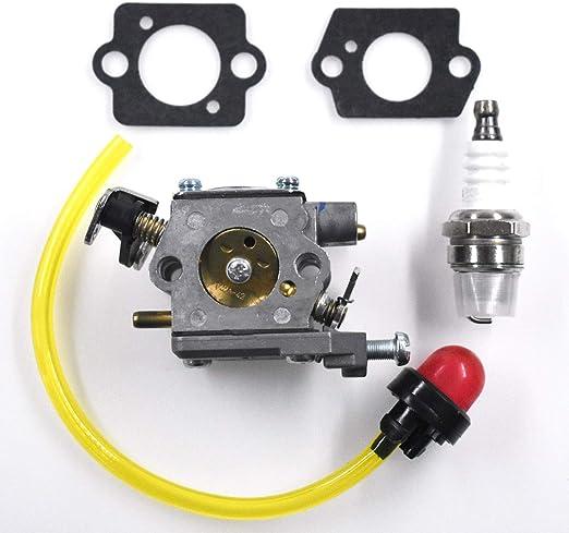 HURI Carburetor for Hyundai HYBC5200 52cc 2-Stroke Petrol Grass Trimmer Brushcutter Carburettor Primer Bulb Gasket