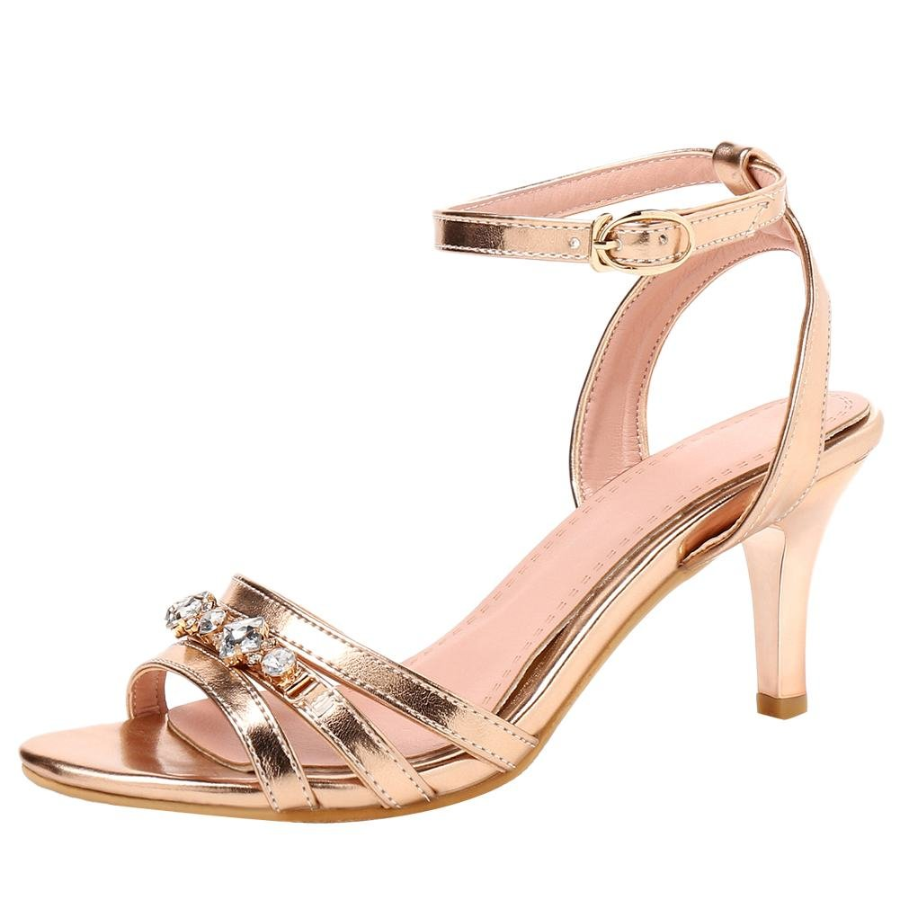 Mee Shoes Damen High Heels Strass Ankle Strap Sandalen  41 EU|Gold