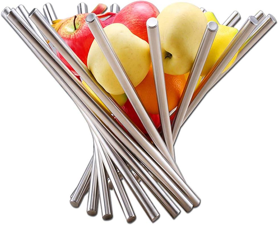 bol /à fruits rotatif unique Argent/é Starvast Panier /à fruits cr/éatif pliable en acier inoxydable pour d/écoration de table