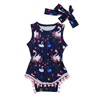 54901ba6cfd Newborn Baby Girl Floral Bodysuit Sleeveless Animal Printed Tassel Romper  with Headband 2Pcs Outfit Clothes (