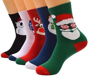 Calcetines De Navidad, Fascigirl 5 Par De Calcetines De Navidad Para Adultos Respirables Dibujos Animados Algodón Impreso Calcetines Para Hombres Y Mujeres: ...