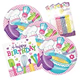 JJ Party Supplies Little Chef Happy Birthday Theme Plates and Napkins Serves 16 With Birthday Candles