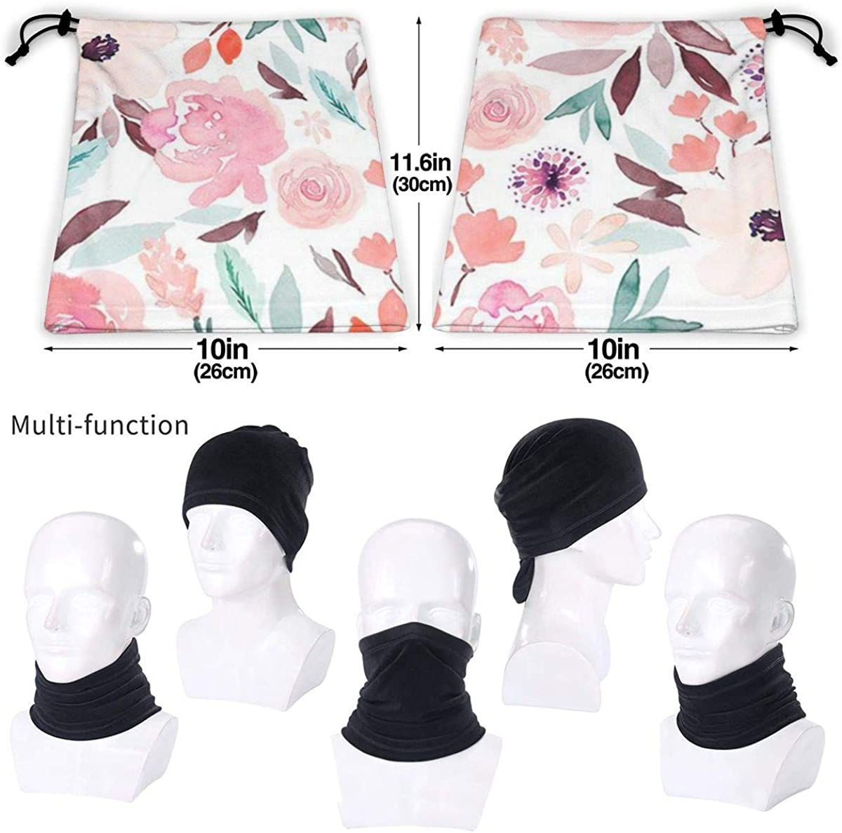 Towilliamsnya Face Scarf Pretty Purple Pastel Floral Wallpaper Headband Scarf Balaclava